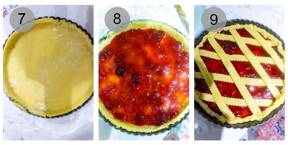 photos on how to make crostata - steps 7 to 9