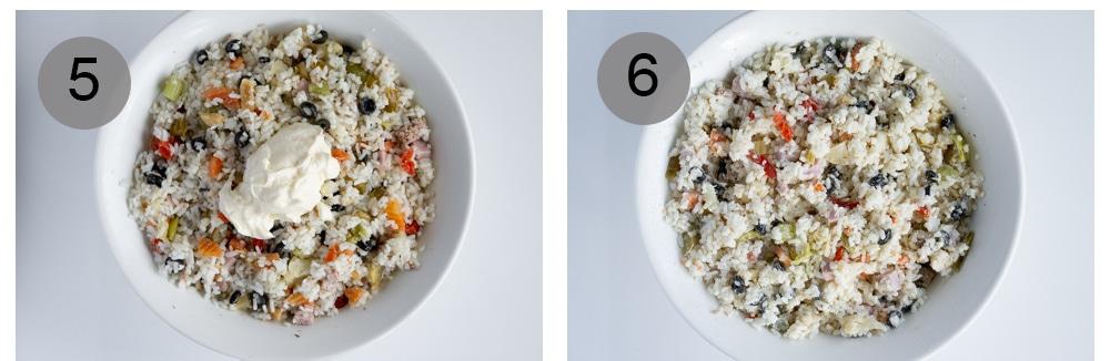 step by step photos on how to make insalata di riso (italian rice salad) - photos 5-6