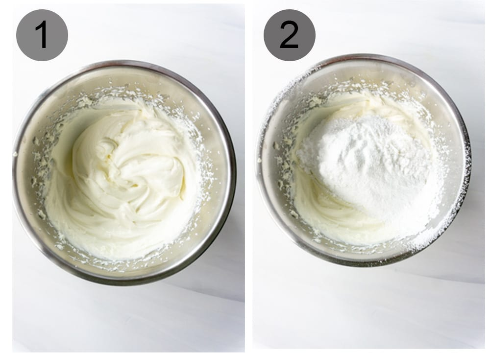 Step by step photos on how to make cannoli cream (steps #1-2)