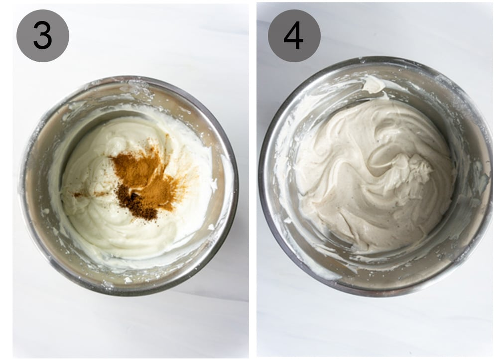 Step by step photos on how to make cannoli cream (steps #3-4)