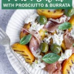Pinterest image for grilled peach salad