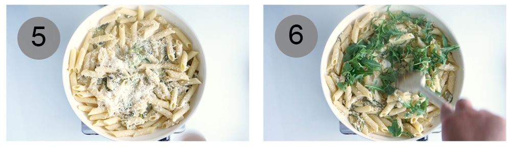 Step by step photos on how to make lemony ricotta pasta with zucchini and arugula (steps #5-6)