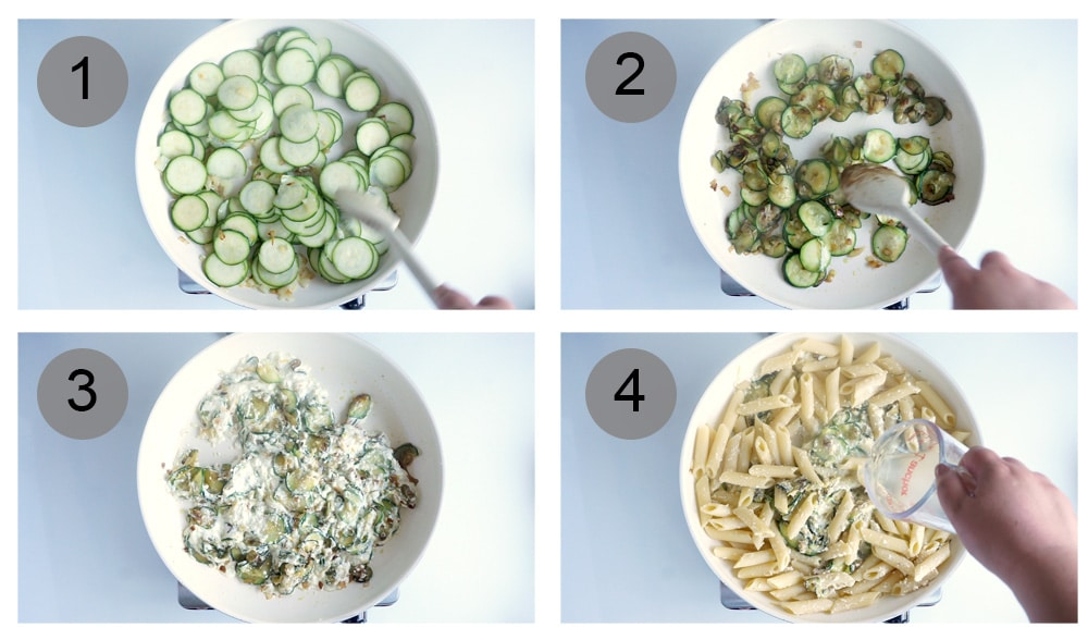 Step by step photos on how to make lemony ricotta pasta with zucchini and arugula (steps #1-4)