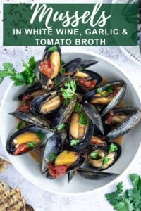 Pinterest image for steamed mussels