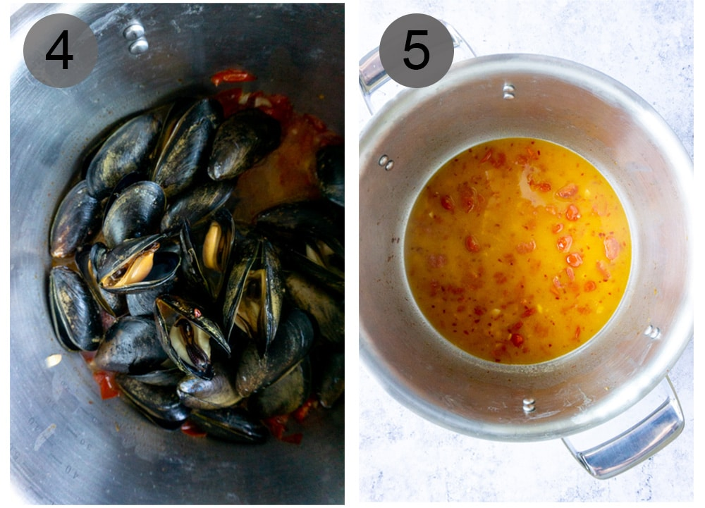 Step by step photos on how to make steamed mussels (steps #4-5)