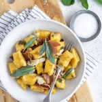 Butternut Squash gnocchi in a bowl on a cutting board