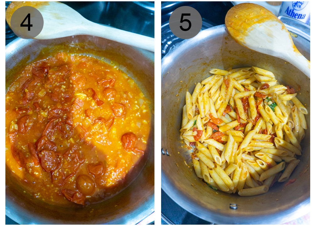 Step by step photos on how to make pasta pomodoro (#4-5)