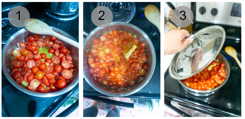 Step by step photos on how to make pasta pomodoro (#1-3)