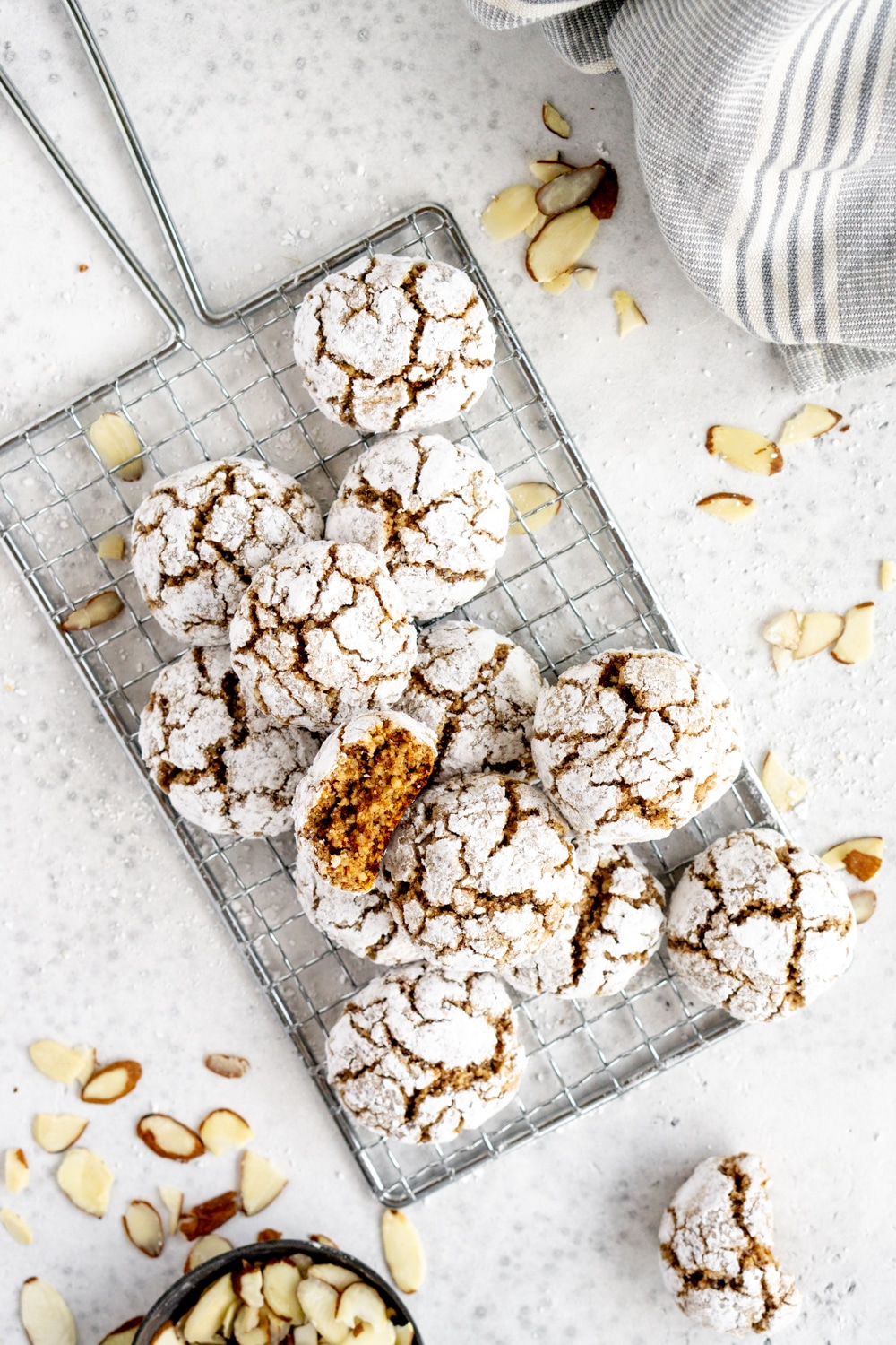 Overhead shot of amaretti cookies on a cookie sheet