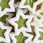 Stacked star cookies with green pistachio cream