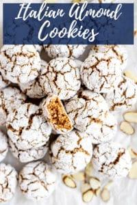 Pinterest image for amaretti cookies