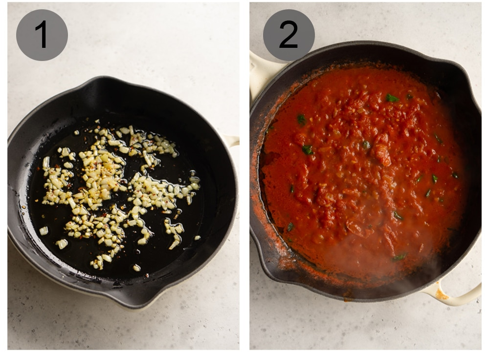 Step by step photos on how to make eggs in purgatory (steps #1-2)