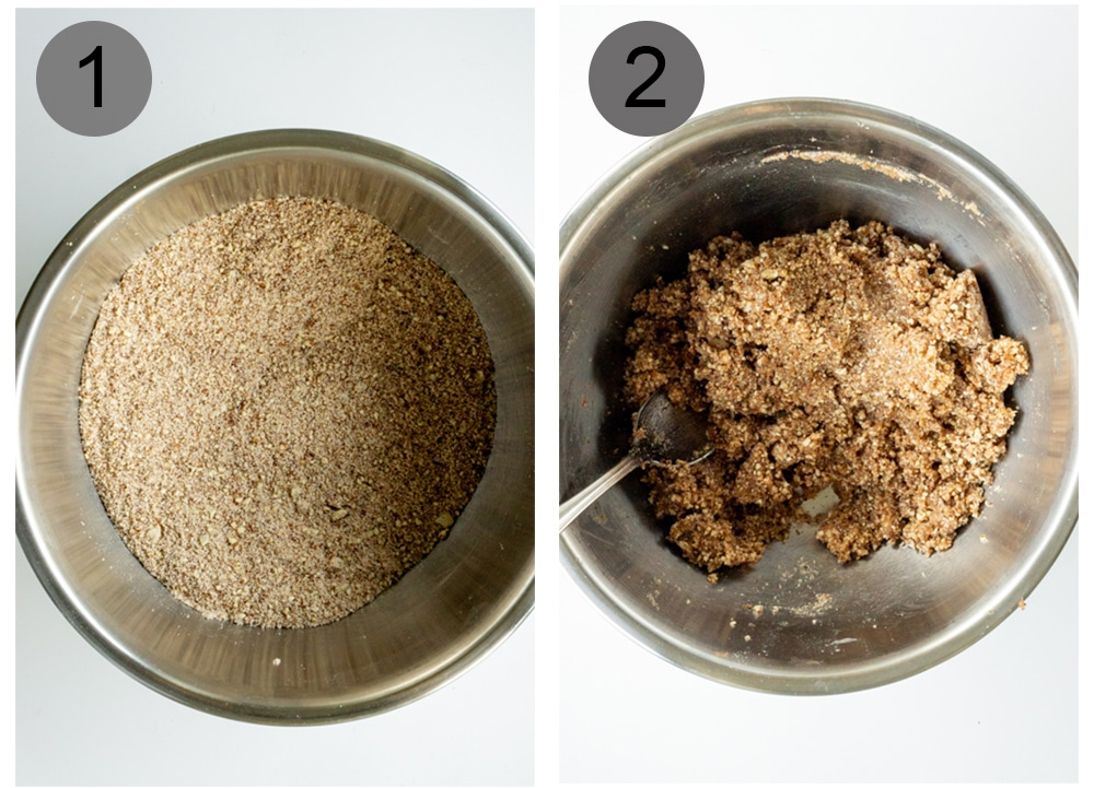 Step by step photos on how to make amaretti cookies (steps 1-2)