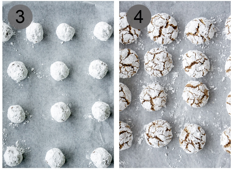 Step by step photos on how to make amaretti cookies (steps 3-4)
