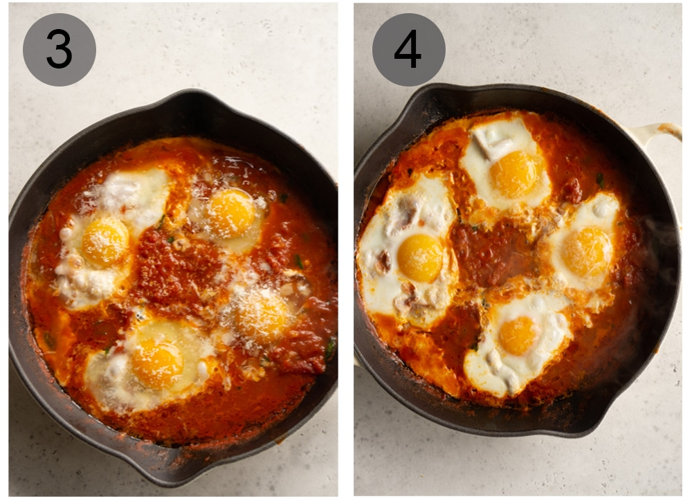 Step by step photos on how to make eggs in purgatory (steps #3-4)