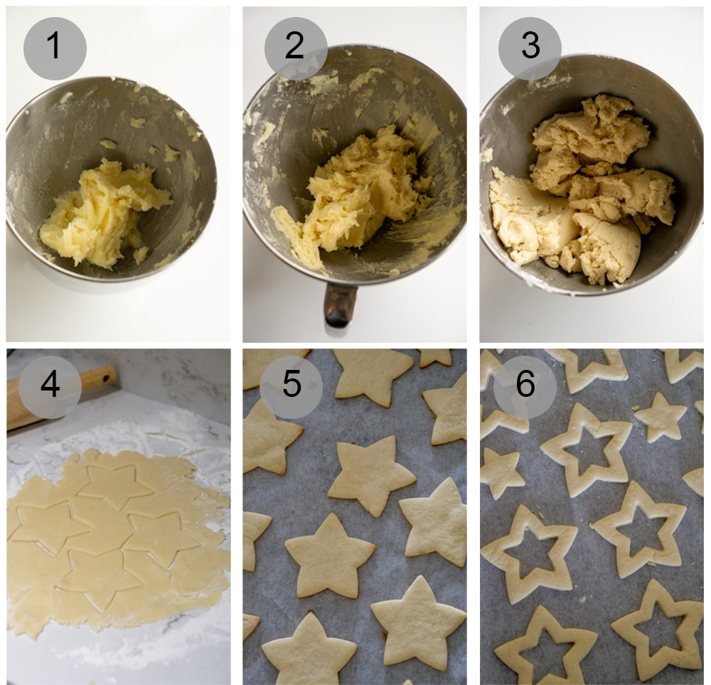 How to make pistachio star cookies - step by step (#1-6)