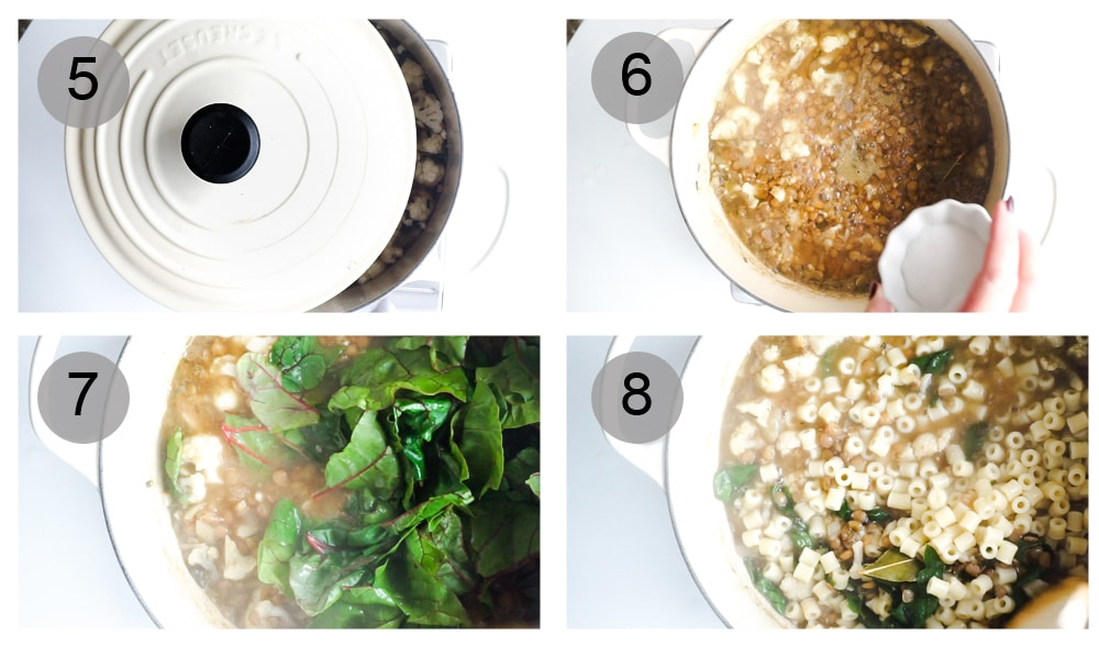 Step by step photos on how to make lentil soup (#5-8)