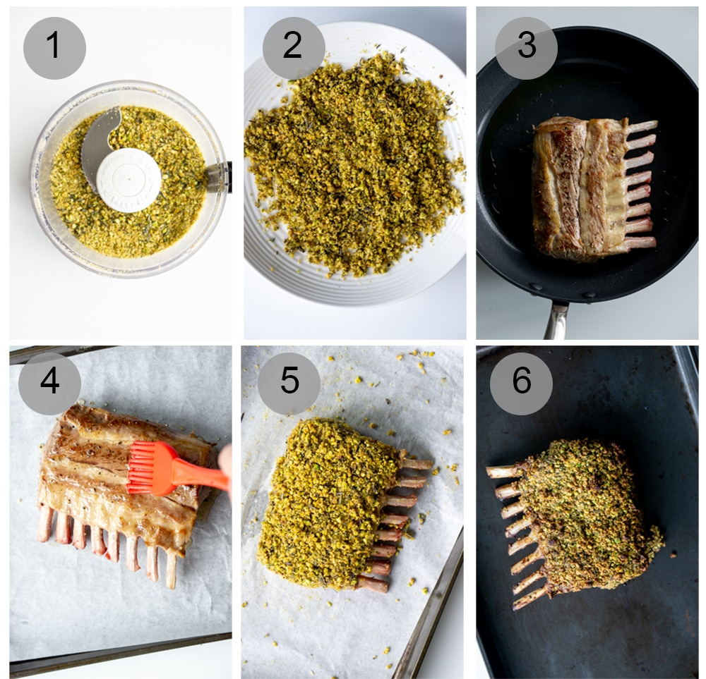 Step by step process on how to make roasted rack of lamb
