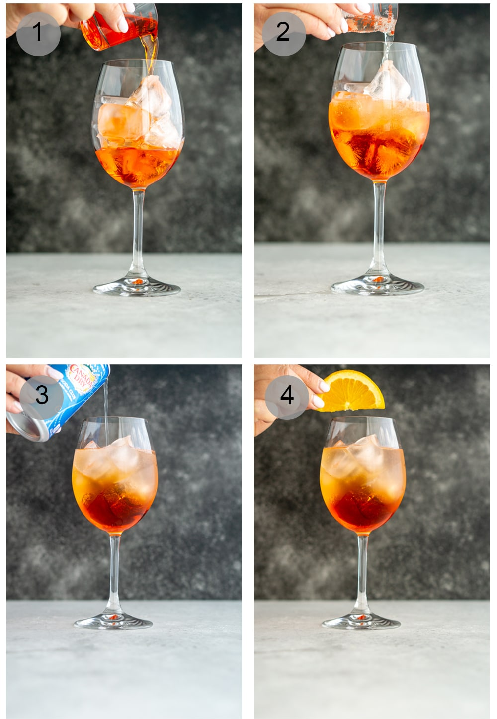 Step by step photos on how to make an aperol spritz