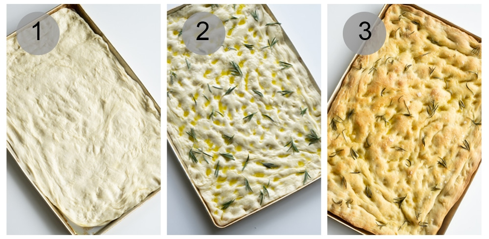 Process shots on how to make focaccia pizza