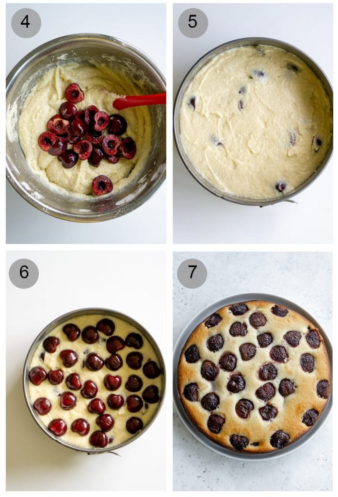Step by step photos on how to make cherry cake (steps 4-7)