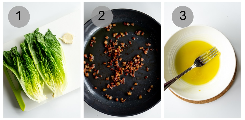 Process photos to make grilled romaine salad (#1-3)