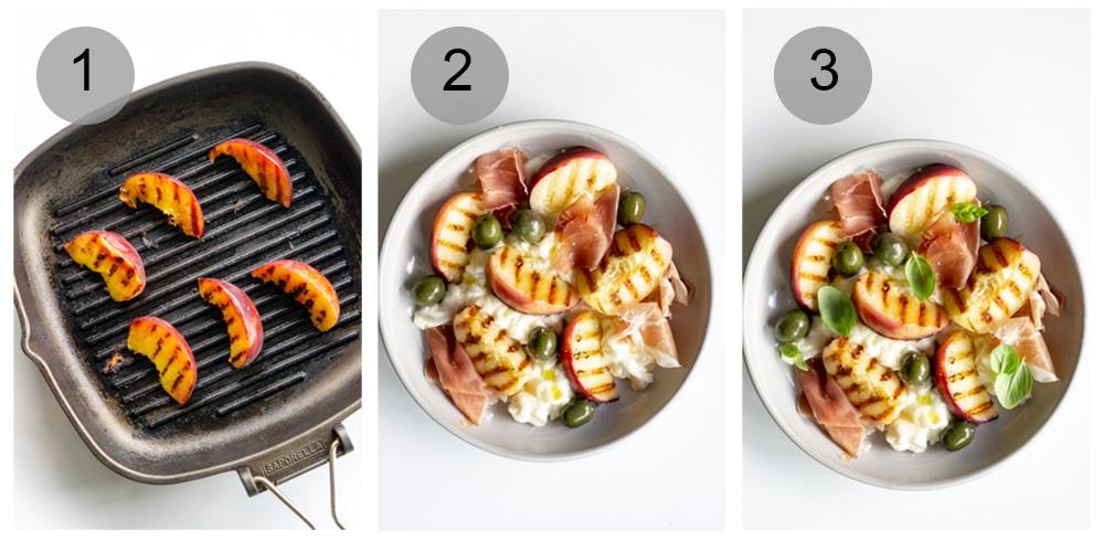 Step by step photos on how to make peach burrata salad