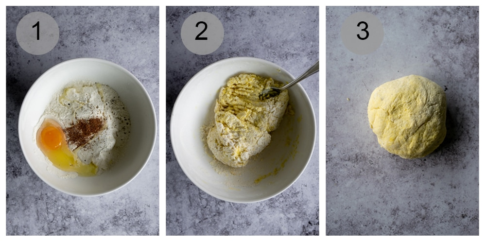 Step by step process on how to make ricotta gnocchi (#1-3)