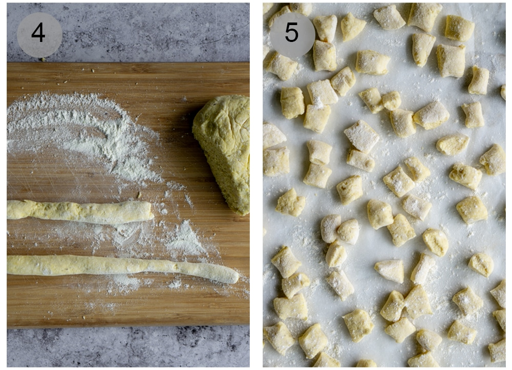 Step by step process on how to make ricotta gnocchi (#4-5)