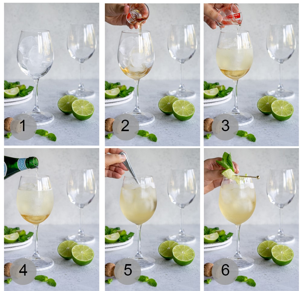 Step by step photos on how to make a hugo cocktail
