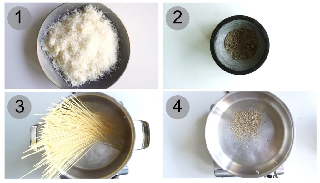 Step by step photos on how to make an authentic cacio e pepe recipe (#1-4)