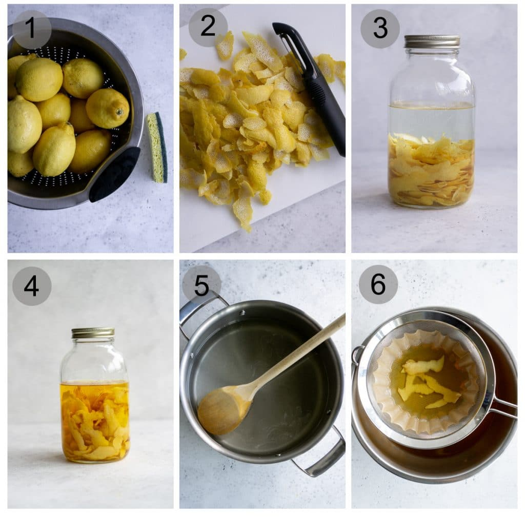 Step by step process on how to make limoncello (#1-6)