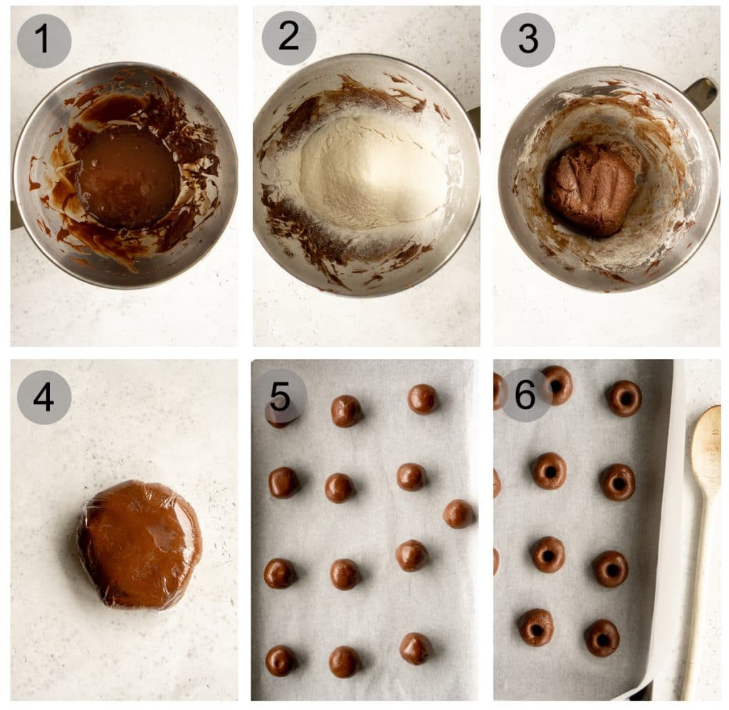 Step by step photos on how to make 3-ingredient nutella cookies (#1-6)