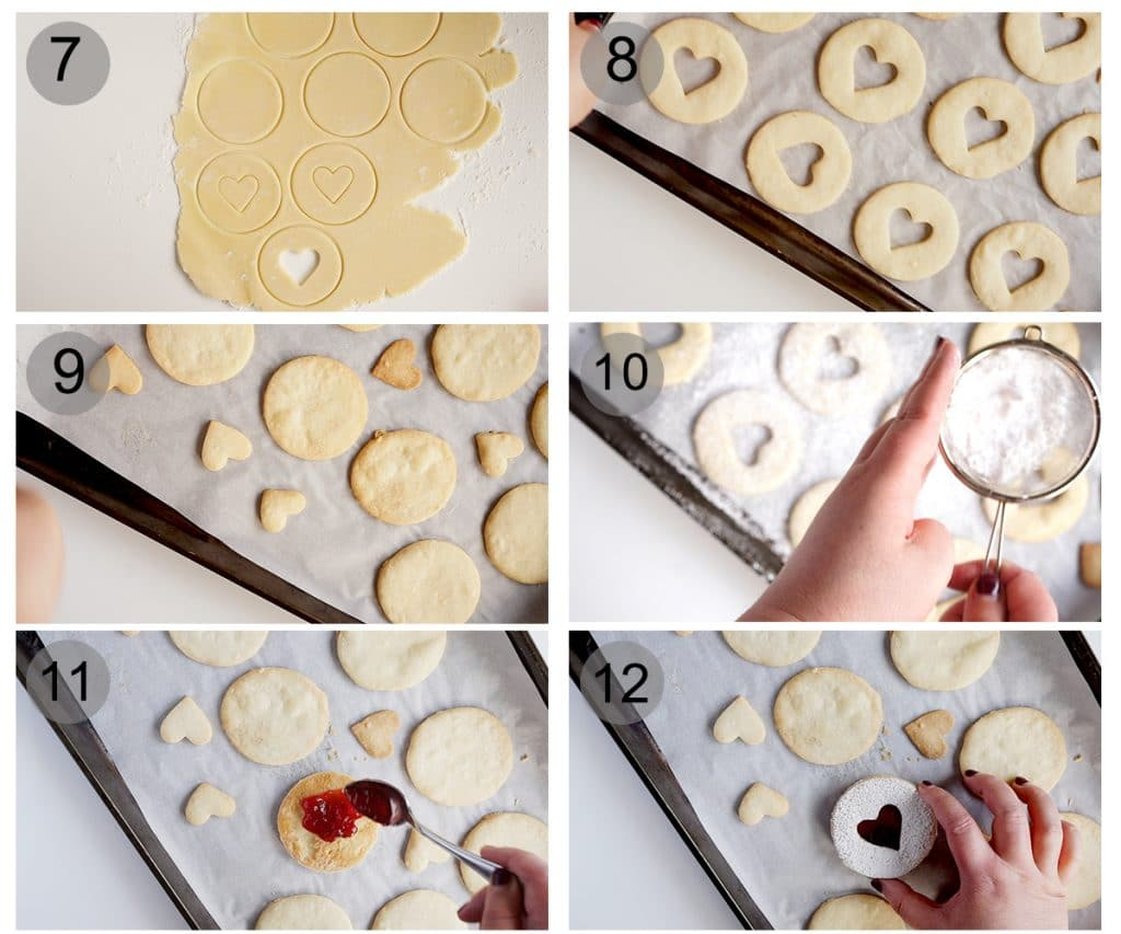 Step by step photos on how to make jam cookies (steps 7-12)