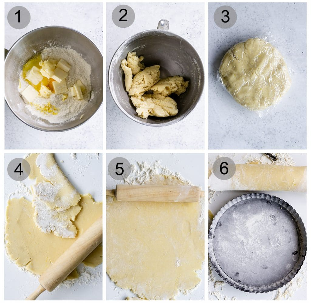 Step by step photos on how to make pasta frolla (#1-6)