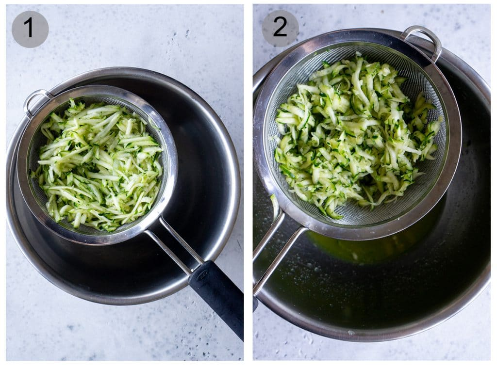 Step by step photos on how to make zucchini pesto (#1-2)