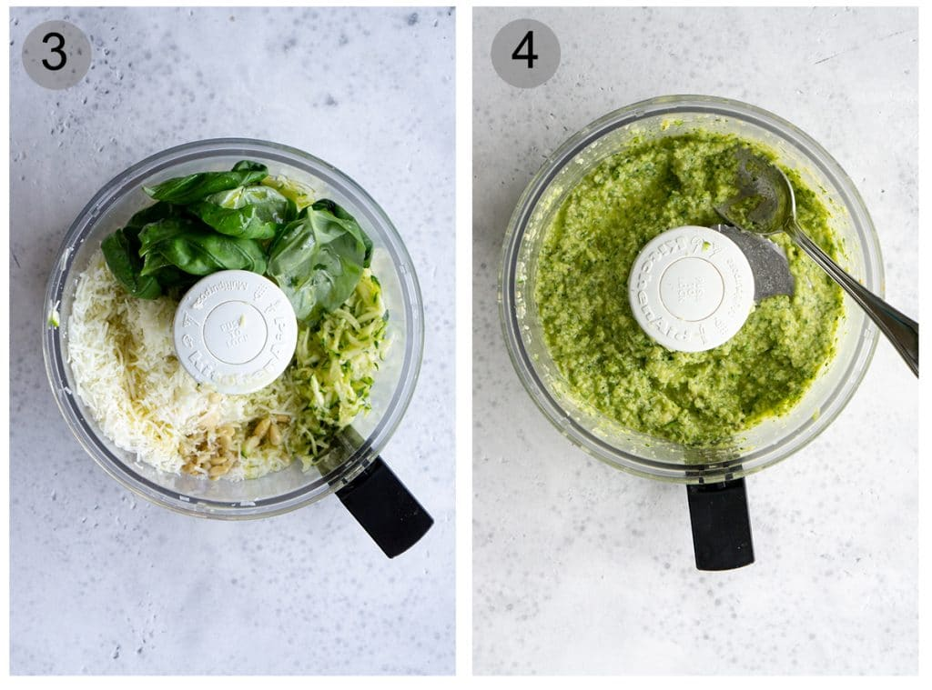 Step by step photos on how to make zucchini pesto (#3-4)