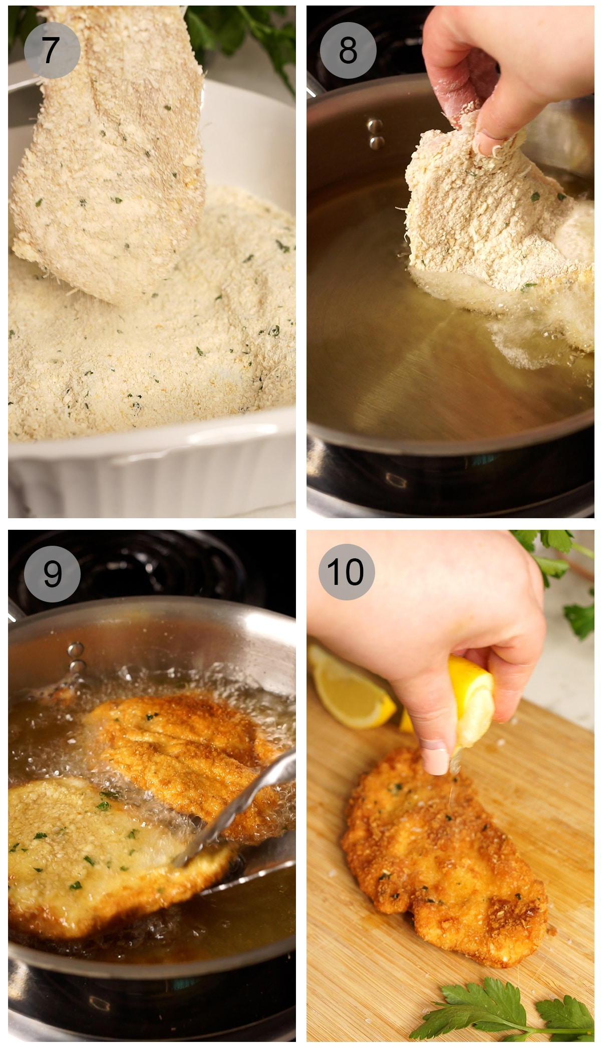 Step-by-step photos on making Italian chicken cutlets. Numbers 7-10.
