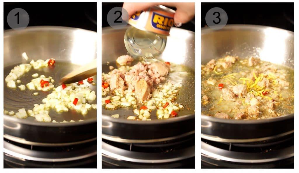 Step by step photos on how to make tuna spaghetti (#1-3)