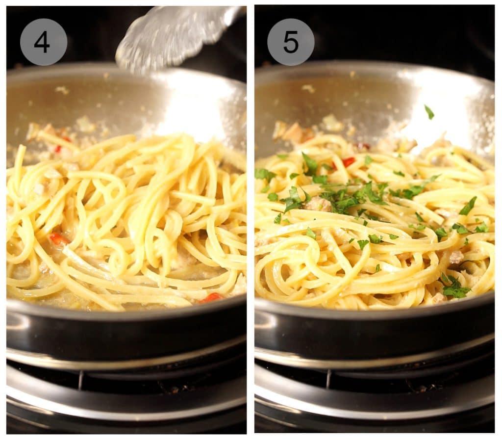 Step by step photos on how to make tuna spaghetti (#4-5)