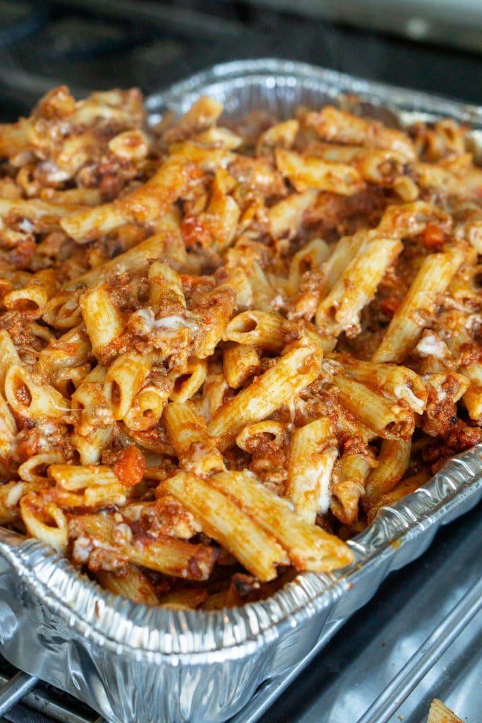 Pasta al forno in a baking tray