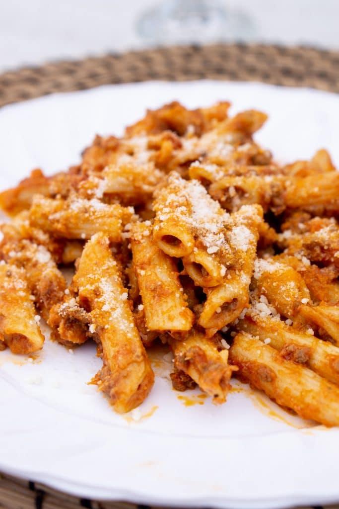 Pasta al forno in a white dish