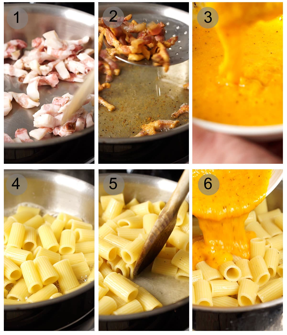 Step by step photos on how to make an authentic carbonara (#1-6)