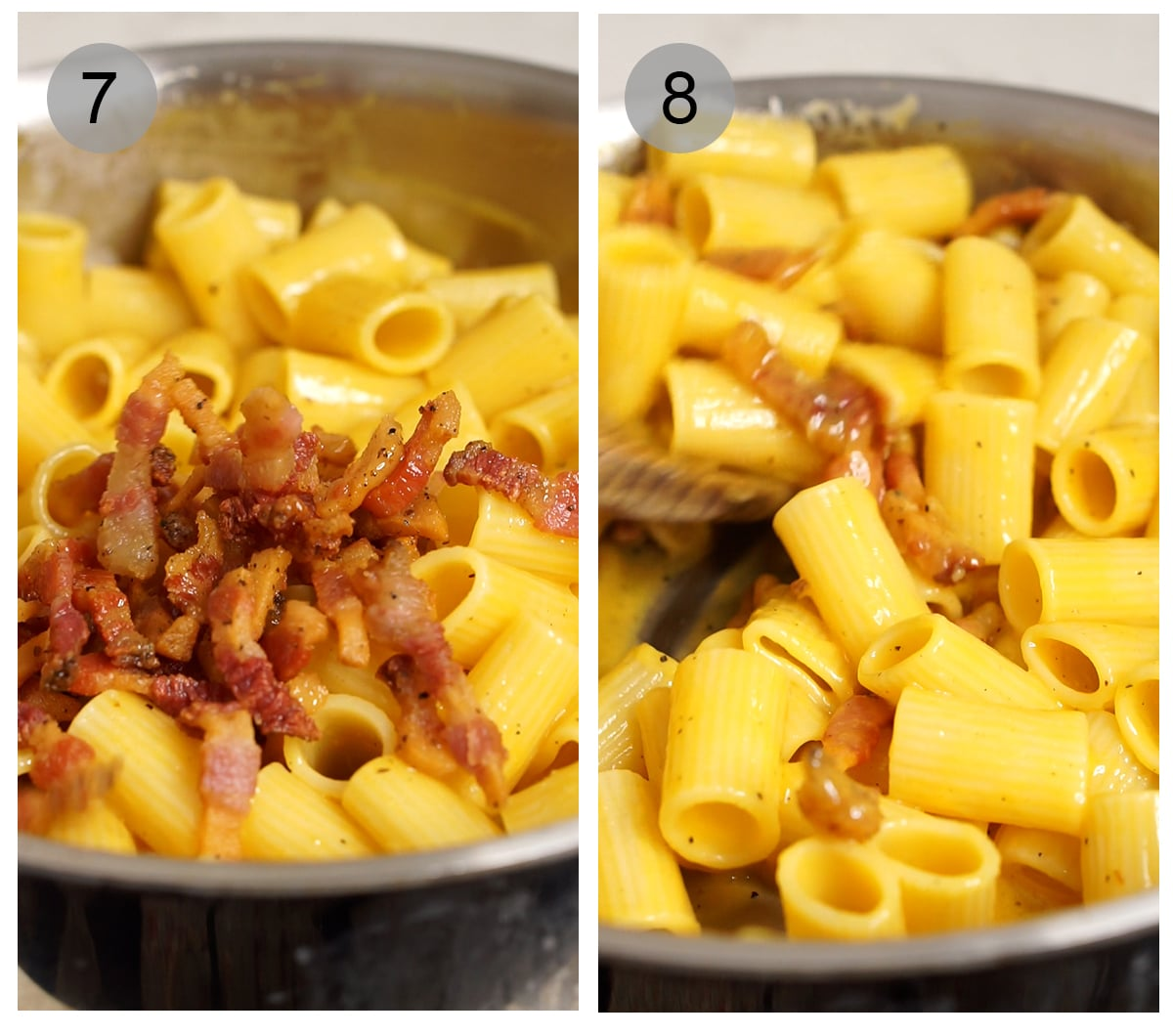 Step by step photos on how to make an authentic carbonara (#7-8)