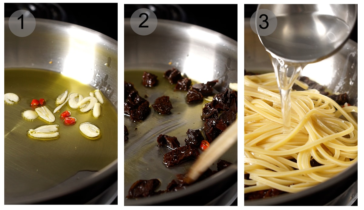 Step by step photos on how to make sun dried tomato pasta (#1-3)
