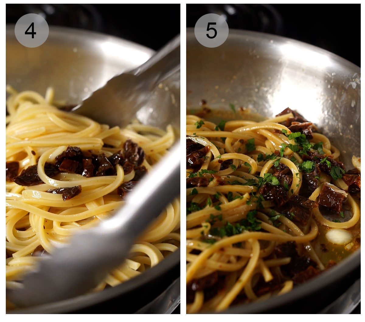 Step by step photos on how to make sun dried tomato pasta (#4-5)
