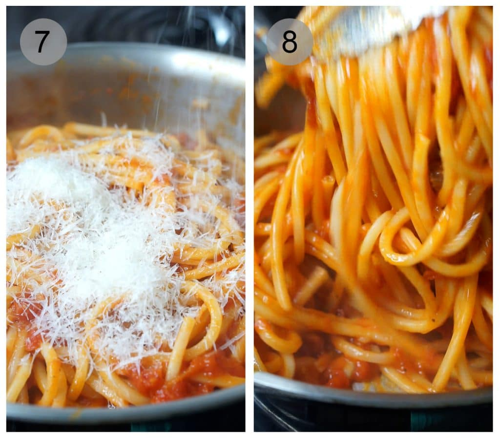 Step by step photos on how to make pasta amatriciana (#7-8)