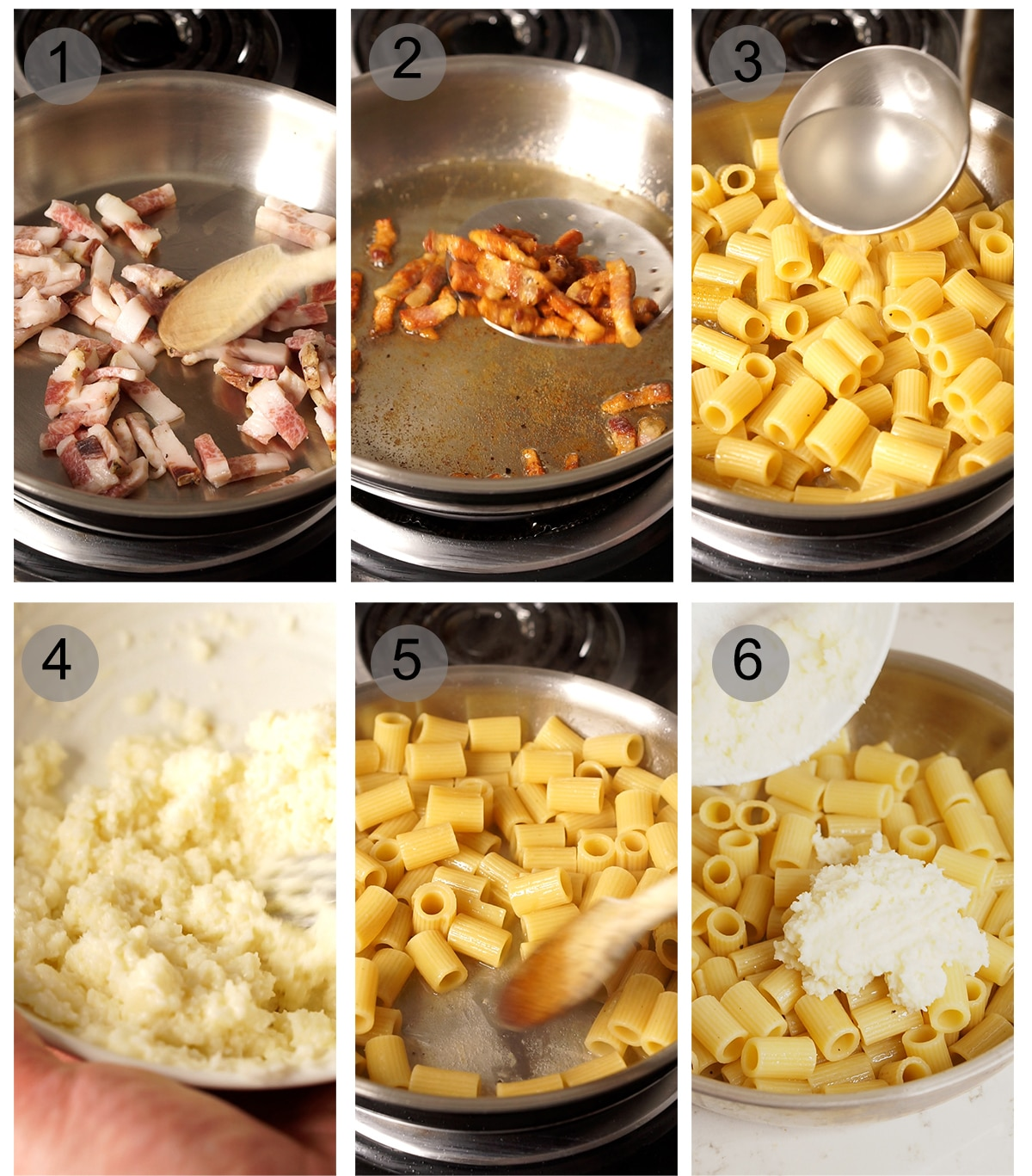 Step by step photos on how to make pasta alla gricia (#1-6)