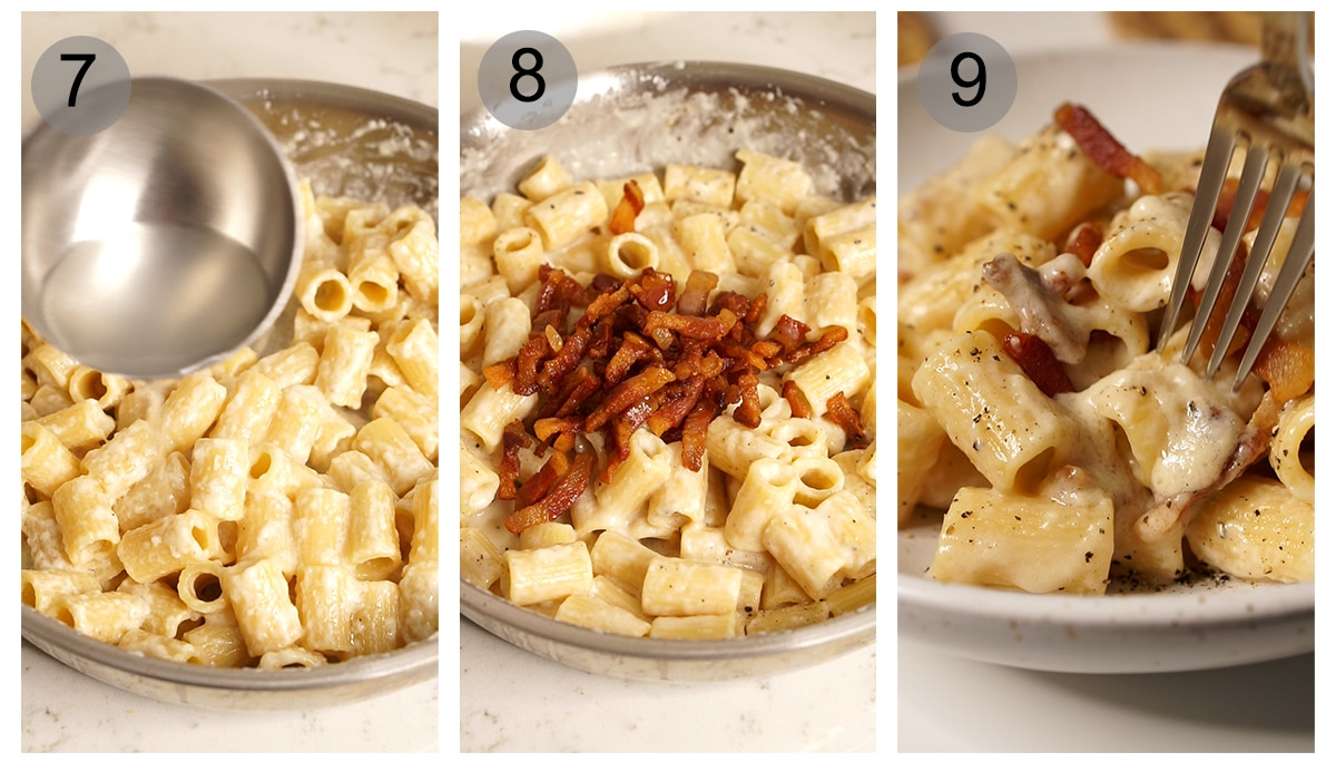 Step by step photos on how to make pasta alla gricia (#7-9)