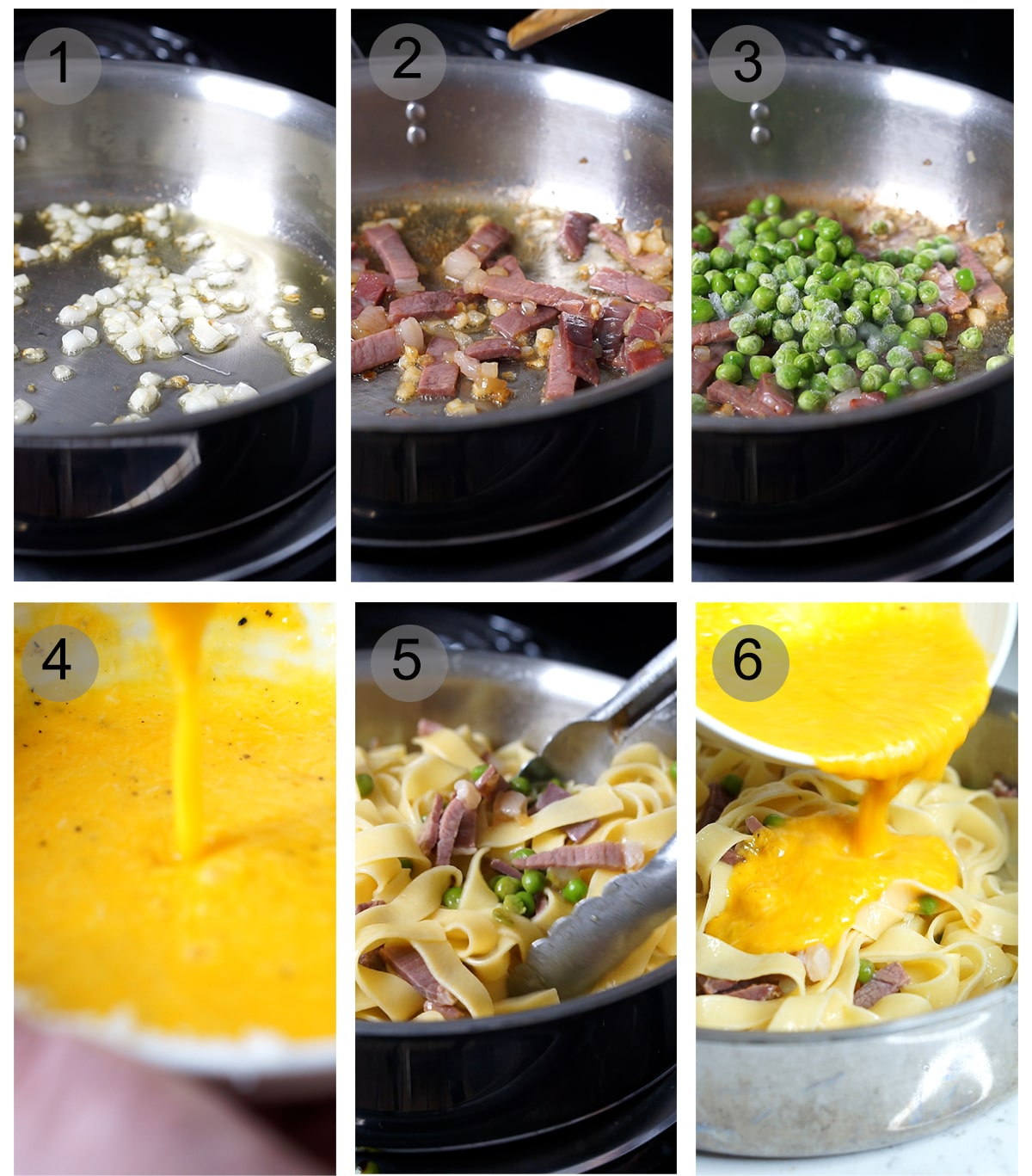 Step by step photos on how to make papalina pasta (#1-6)
